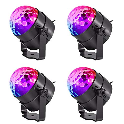 Vinmin LED-Bühnenlichter, Disco-Ball-Party-Lichter, Sound-aktivierte Party-Lichter 7 Farben Remote Rotation Crystal Magic Ball 3W Schwarz (4-Pack) (An Ball Der Decke Disco Montiert)