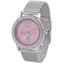 Posh Round Dial Quartz Analog Crystal Studded Water Resistant Women's Wrist Watch