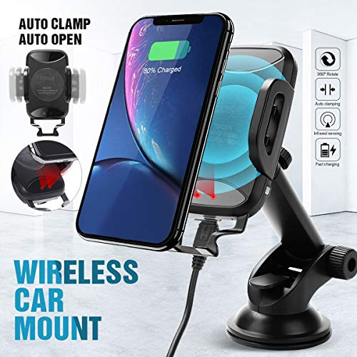 IPS IP SMART Chargeur sans Fil Voiture, Support Téléphone Chargeur Induction Voiture Compatible pour iPhone X/8/8 Plus, Samsung Galaxy S8/S8 +, S7/S7 Edge, S6/S6 Edge, Note 8/5 etc