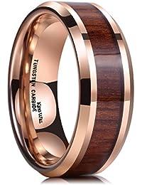 King Will KOA - Anillo de boda de carburo de tungsteno, 8 mm, de
