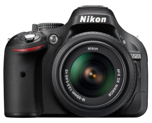 Nikon D5200 SLR-Digitalkamera (24,1 Megapixel, 7,6 cm (3 Zoll) TFT-Display, Full HD, HDMI) Kit inkl. AF-S DX 18-55 mm VR Objektiv schwarz (Nikon Digitale D5200 Slr-kamera)