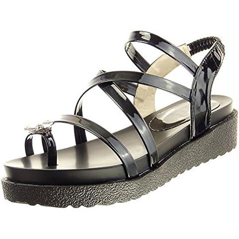 Sopily - Zapatillas de Moda Sandalias Tobillo mujer joyas tanga patentes Talón Plataforma 4.5 CM - Negro