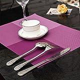 Buckle Up Checks Pattern Antislip Table Mats/Placemats Set Of 4 - Purple