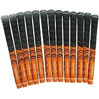 Crestgolf Puños de golf para palos de golf, 13 unidades, más antideslizantes, tecnología de hilo de algodón ecológico, tamaño mediano o tamaño estándar, naranja, Midsize