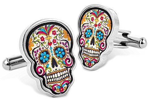 Totenkopf Manschettenknöpfe Dia de Los Muertos, Day of the Dead Sugar Farbig Mexikaner