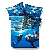 Sticker superb 2 Personas 3D Mar Delfín Funda de edredón con Cremallera, 3 Piezas Animal Ropa de Cama con Funda de Almohada (Oceano Delfín, 180x220cm para Cama de 105/90cm)
