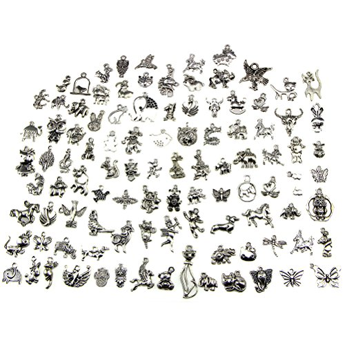 Animal Charms, BESTIM INCUK Wholesale Bulk 100 Pack Mixed Tibetan Pendant Charms for Jewelry Making Bracelet Necklace DIY Crafts