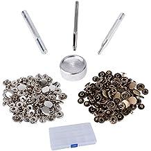 50 X Botones de Presión Snaps Metal Metálicos 12.5mm Color Bronce Cobre y Plateado + Juego de Herramientas para Fijación Manualidad Bricolaje