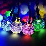 ECOWHO Solar Lichterkette Außen mit LED Kugel 7.5m 40 LED Batteriebetriebene String Lights für Innen, Garten, Hochzeit, Party, Weihnachten(Buntes)