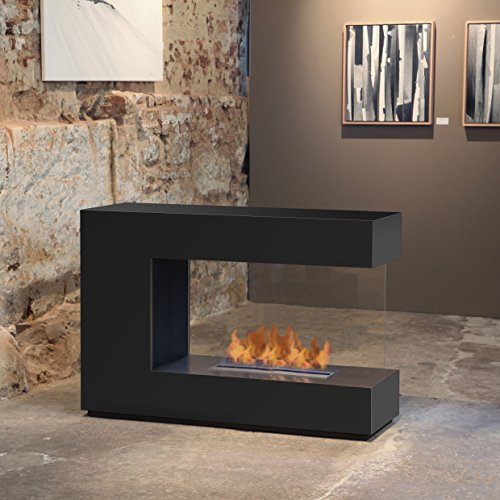 muenkel design loft.line -- C-02 Raumteiler Ethanol Kamin: Tiefschwarz - PrimeFire Pro