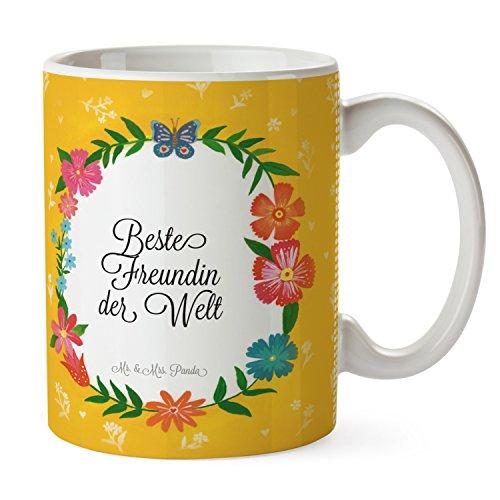 Mr. Mr. & Mrs. Mug Panda Frame Happy Girls – 100% Fait Main dans Le Nord Allemande – Tasse à Petit-déjeuner, Baies, thé, Porcelaine, Cadeau, Tasse, Fleur, Fleur, Tasse à thé, céramique