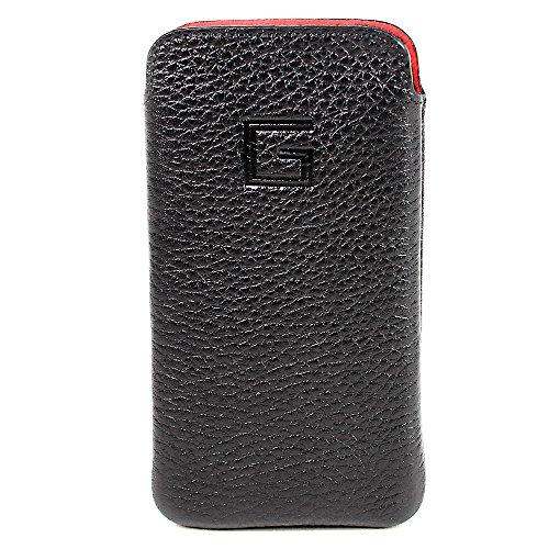 Goldberg Apple iPhone SE Hülle Echt Leder Case Tasche Etui Handytasche Ledertasche Schutzhülle - EasyCase Slim Line (Schwarz)