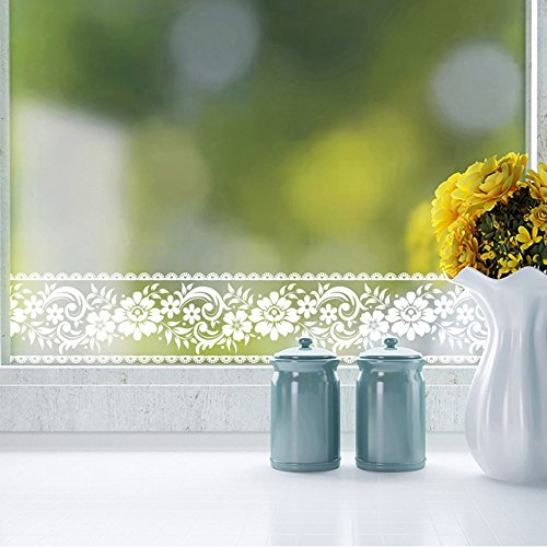 yenhome 10x 1.000cm/Rolle weiß Spitze transparent Abnehmbare Selbstklebende Tapete Grenze Shop Display Wasserdicht Fenster Film Glas...