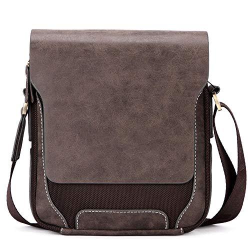 Faux-leder-satchel (TONGSH Mann Umhängetasche, weiche PU-Leder Cross Body Canvas Satchel Taschen Magnetische Schnalle Echt/Faux/Kunstleder Messenger Galaxy Note Kindle iPad Tasche (größe : Large Vertical))