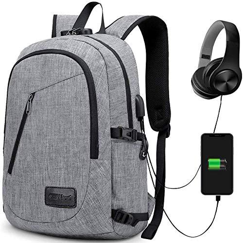 Laptop Rucksack Grau Anti Diebstahl mit Zahlenschloss USB Ladeanschluass Unisex Daypack Geeignet für bis zu 43,2 cm (15,6 Zoll)