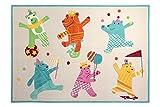 Esprit Marken Kinder Teppich, kuschelig und hochwertig mit bunten tanzenden Bären Dancing Bears (140 x 200 cm)
