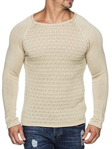 TAZZIO Styler doppel Muster Strick-Pullover mit weitem Rundhals-Ausschnitt 16404 Stone