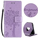 For Samsung Galaxy S9 Plus Wallet Case ,SibyTech® Premium Flower Tree Design, PU Leather TPU Shockproof, Card Slots Magnetic Closure Stand Function Folio Flip Book Case Cover for S9 Plus (2018) (Mauve)