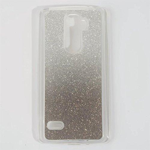 Für LG Stylus 2 LS775 Bling Hülle, MUTOUREN für LG G Stylo 2 K520 Schutzhülle Gradient Farbe Glitzern Handyhülle Case Cover TPU Silikontasche Transparent Ultra dünne Gel Anti-scratch Etui Bumper für LG Stylus 2 LS775/LG G Stylo 2 K520 (5,7 Zoll) - Schwarz