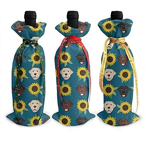 BK Creativity Wine Bottle Cover,Labrador Retriever Sonnenblume Schwarzer Hund 3Er Xmas Wine Covers Für Silvester Dekoration -