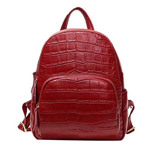 Rucksack Purse PU Gewaschen Leder Damen Rucksack Schultertasche Für Frauen,Red-M