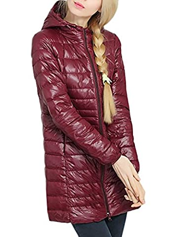 Women Zip Up Hooded Long Quilted Down Puffer Jacket Winter Overcoat Outerwear