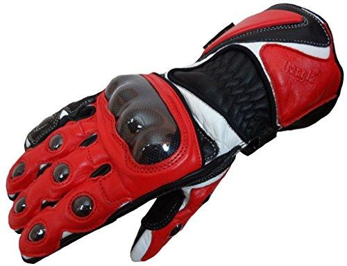Bangla Motorradhandschuhe Motorrad Handschuhe Leder Rot Schwarz S 5011