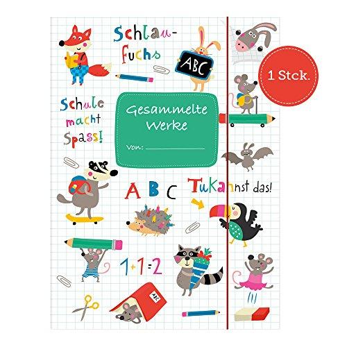 Sammelmappe für Kinder, Kindergarten, Kinderzeichnungen, DIN A4, mit Tieren zum Abheften in der...