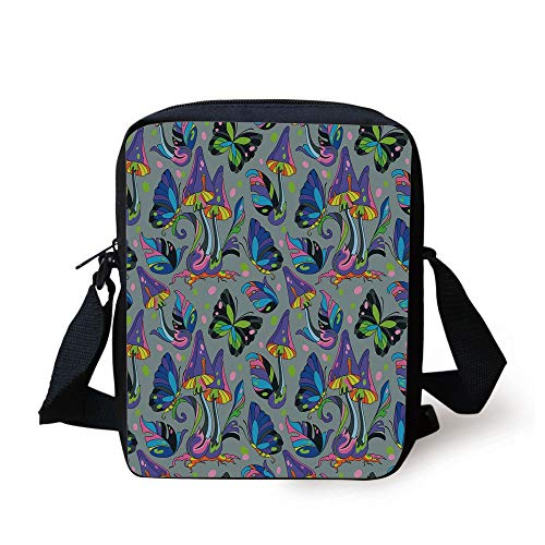 Mushroom,Magic Forest with Psychedelic Elements Fungus Mushroom Butterfly Dots and Leaves Decorative,Multicolor Print Kids Crossbody Messenger Bag Purse -
