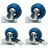 4 Stück Blue-Wheels 100mm, kugelgelagerte Rollen mit Bremse als Transportrolle blaue Räder auch für Möbel oder Strandkörbe als Set bestehend aus Schwerlastrollen, Raddurchmesser:100