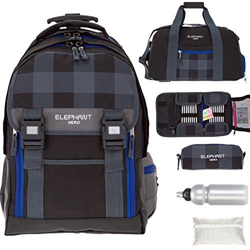 Preisvergleich Produktbild 6 Teile MEGA SET: ELEPHANT HERO 2 Trolley + Sporttasche + Federmäppchen XL + Mäppchen Zipper + Regenschutz + Trinkflasche 12365 (Plaid Black)