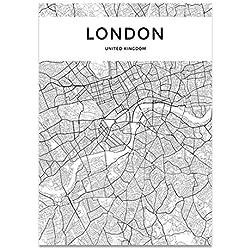 ZWXDMY Impression sur Toile,Plan De Londres Nordique Mot Lettre Abstraction Art Mural Décoration Peinture Décoration,Accueil,Toile d'impression Photo Poster Art Mural Carré,70×100Cm