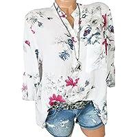 Blusa Camisetas Mangas Tallas Grandes para Mujer Gasa Floral Imprimir Manga Larga Camiseta De Manga Larga con Cuello Casuales 2019