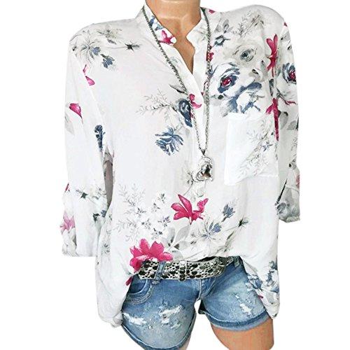 iHENGH Damen Sommer Top Bluse Bequem Lässig Mode T-Shirt Blusen Frauen Plus Size Chiffon Blumendruck Langarm Bluse Pullover Tops Shirt(Weiß, M) Boot Fit Cord Hose