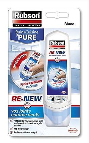 Rubson Mastic Sanitaires Bain & Cuisine Pure/ Re-New - Tube de 100 ml - Blanc