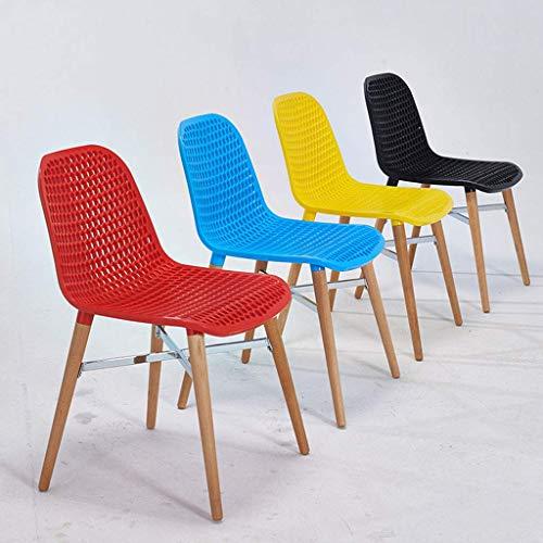 CWJ Praktischer Stuhl Stuhlhohlgeschnitzt Design Bequemer Kunststoffsitz und Massive Holzbeine aus Buche für Wohnzimmer Terrasse Terrasse Büro Küche Lounging Kreative Hocker,Blau -