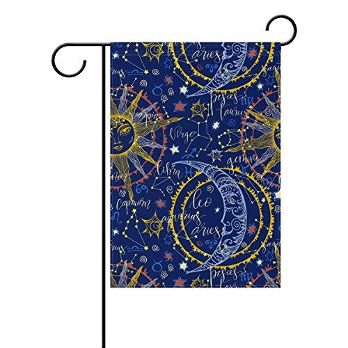 coosun Hand Drawn Astrologische Sun Moon Muster Polyester Garten-Flagge im Flagge Home Party Garten Decor, doppelseitig, 71,1x 101,6cm, Polyester, mehrfarbig, 28x40(in) (Astrologische Hand)