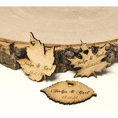 Ali a forma di foglia, in legno grezzo, da tavolo o Decorations. Bomboniere Vintage., Legno, natur, 75