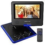 7.5'' Tragbarer DVD-Player, 5 Stunden Akku, schwenkbaren Bildschirm, unterstützt SD-Karte und USB, mit Spiele-Joystick, Auto-Ladegerät--Blau