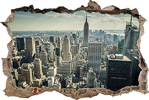 Pixxprint 3D_WD_S2474_92x62 atemberaubender Blick auf New York Wanddurchbruch 3D Wandtattoo, Vinyl, bunt, 92 x 62 x 0,02