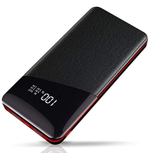 Yutre Power Bank, Batteria Esterna 24000mAh Caricabatterie Portatile per Mobile Portatile con Schermo LCD, 2 Porte Di Uscita Totale 3.1A Per Dispositivo iOS / Android Tablet -Rosso