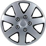 Unitec 75185 Premium- Radzierblenden 4er- Satz Melbourne, schwarz + silber 33 cm (13 Zoll) - 4-er Set