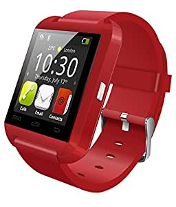 Bluetooth U8 Smart Watch Wrist Watch can connect with your smart phone with 60 Days Warranty (Colour Red) compatiable with HTC One E9