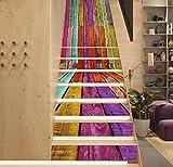 TIANTAI 3D Treppe Aufkleber Farbe Kabine Wandaufkleber 13 Stück DIY Renovierte Treppe Aufkleber Selbstklebend Wasserdicht