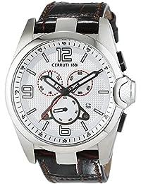 CERRUTI MERCURIO CRA088N213G - Reloj para hombres, correa de cuero color marrón