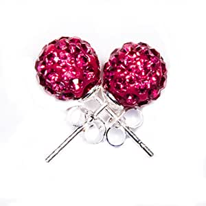 Shamballa Style Earrings 8mm Disco Ball on Silver Stud - Hot Pink