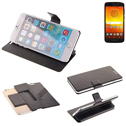 K-S-Trade Schutz Hülle für Motorola Moto E5 Dual SIM Schutzhülle Flip Cover Handy Wallet Case Slim Handyhülle bookstyle schwarz