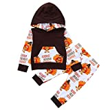 Fuibo Baby Halloween Kleidung, Infant Baby Thanksgiving Day Brief Türkei Print Kapuzenoberteile + Hosen Outfits Set (12-18M(90), Coffee)