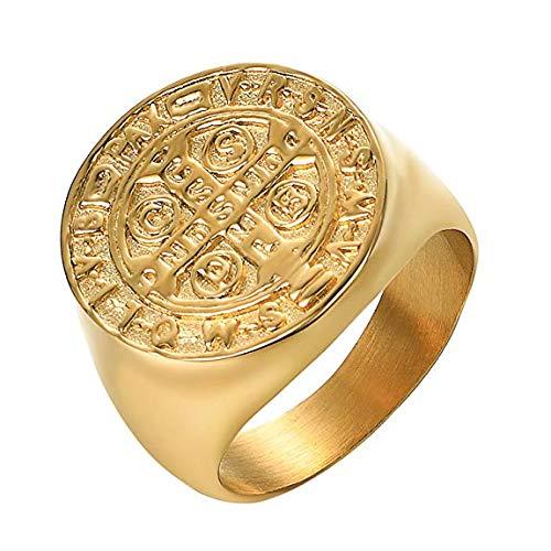 Yoursfs 14ct Gold plattiert gotischen großen Löwen Kopf Ringe für Männer Mode Schmuck Geschenk (Ringe Gold 14k Schmuck)