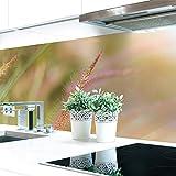 Küchenrückwand Gras Blüte Premium Hart-PVC 0,4 mm selbstklebend - Direkt auf die Fliesen, Größe:60 x 51 cm